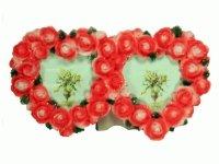 3995В Рамка для фотографий из керамики ( двойная из роз в форме сердец ) 9х13