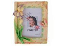 462702 Рамка для фотографий из керамики ( цветы на фоне свитка ) 10х15