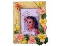 463907 Рамка для фотографий из керамики ( цветы на фоне плетенной рогожки ) 10х15