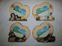 5045 Рамка для фотографий из керамики ( собаки в сердце из дерева ) 10х15