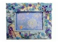 6249 Рамка для фотографий из керамики ( голубые цветы с бижутерией ) 9х13