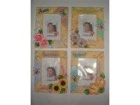 0646029 Рамка для фотографий из керамики ( цветы и бабочки на бежевом фоне ) 10х15