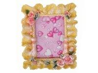 072 ( 8072 АВ ) Рамка для фотографий из керамики ( бежевые кружева с цветами ) (8072 АВ) 10х15