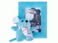 A 020 Рамка для фотографий из меха с мышкой (4 цвета серый, белый, голубой, розовый) 10х15(2 сорт)
