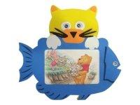 7001 Рамка для фотографий с фигурками ( кот с рыбой ) ( мягкий пластик ) 10х15