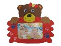 7003 Рамка для фотографий с фигурками ( медведь ) ( мягкий пластик ) 10х15