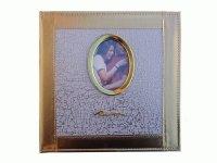 1010 PU 209 Альбом с обл.из белой с золотом кожи, овальной рамкой на 20 листов (22,5х25,5)