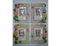 463386 Рамка для фотографий из керамики ( цветы в волнистой рамке) 10х15